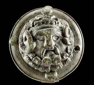 Romano-Egyptian Bronze Roundel Zeus-Ammon