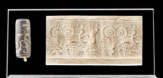 Greek Cypriot Stone Cylinder Seal - Eyes / Zoomorphs