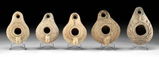 Lot of 5 Roman Terracotta Oil Lamps