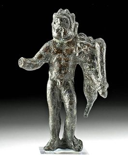 Roman Leaded Bronze Hercules w/ Nemean Lion Skin & Club