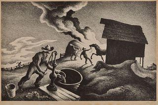 THOMAS HART BENTON, American 1889-1975, Fire in the Barnyard, 1944