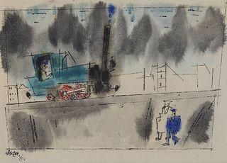 LYONEL FEININGER, American/German 1871-1956, Untitled (Locomotive), 1946