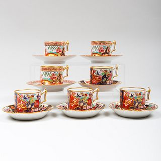 Group of Seven Flight Barr & Barr Coffee Cans and Saucers