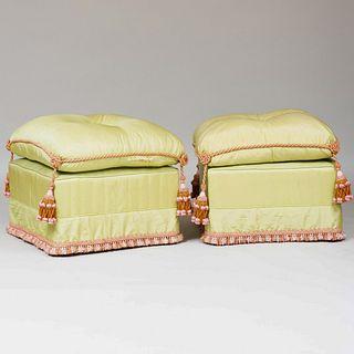 Pair of Silk Upholstered Tasseled Ottomans