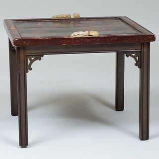 Chinese Jade Mounted Lacquer Panel Mounted as a Low Table