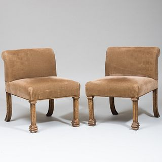 Pair of Painted Metal and Upholstered Slipper Chairs