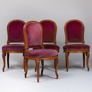 Set of Four Louis XV/XVI Style Beechwood Chaises à la Reine, in the Manner of Georges Jacob