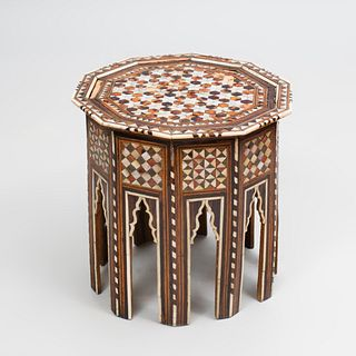 Moroccan Inlaid Mother of Pearl, Bone and Hardwood Octagonal Table