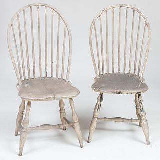 Pair of Grey Painted Bow Back Windsor Side Chairs