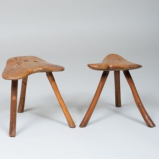 Two Rustic Elm and Ash Milking Stools
