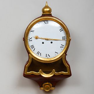 Continental Iron Red Painted and Parcel-Gilt Wall Clock