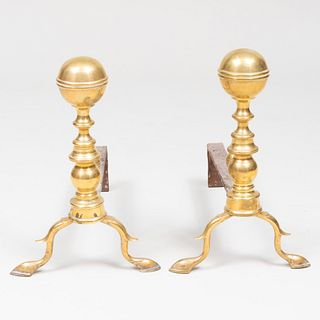 Pair of Brass Bulbous Andirons