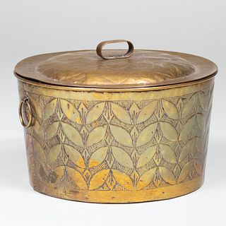 Continental Repoussé Brass Pot and Cover