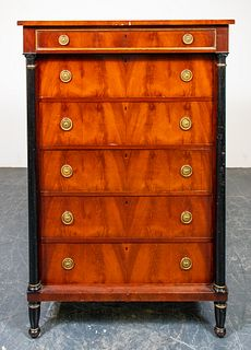 French Empire Parcel Ebonized Mahogany Semainier
