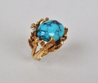 18K Gold Turquoise & Diamond Cocktail Ring