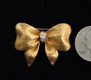 18K Gold & Diamond Ribbon Form Pin