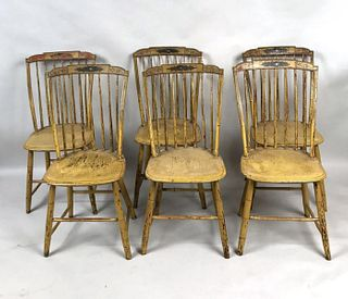 Set Six American Federal Painted Windsor Chairs