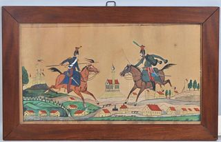 Framed Folk Art W/C Prussian Horsemen Amid Village