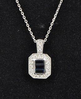 Ladies' Gold, Diamond & Sapphire Pendant