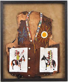 Native American Loom Beaded Hide Vest