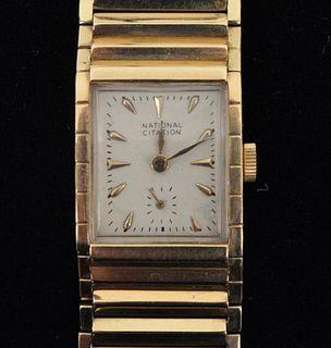 14K Gold Wrist Watch, Mesh Band