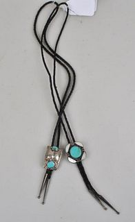 Two Signed Sterling Native American Bolo Ties