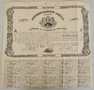 $100 Confederate States of America Civil War Bond