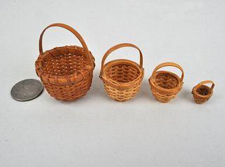H. Heyser, Nest Four Miniature Nantucket Baskets