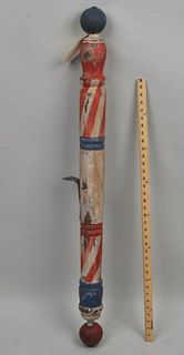 Folk Art Painted Wood Barber Pole Trade Sign