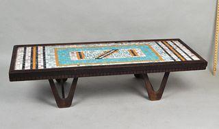 MCM Mosaic Tile Top Wood Coffee Table