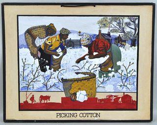 """Jennie Hite, """"Picking Cotton"""", WPA Project, G/B"""