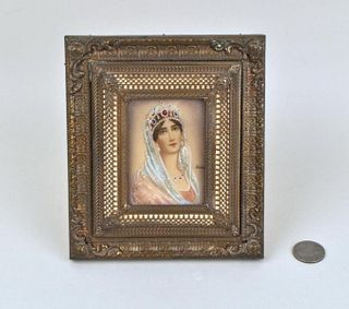 "Miniature Portrait Of Lady, Signed ""Hermo"""