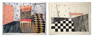 Rochelle Feinstein, Two Lithographs