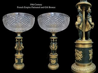 A Pair of Empire Patinated & Gilt Bronze Centerpieces