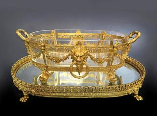 19th C. Bronze & Baccarat Crystal Centerpiece/Plateau