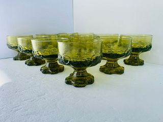 12 emerald green pressed glass from the 1940s