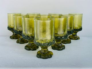 Set of 10 Pressed Glass water Glasses from the 1940s