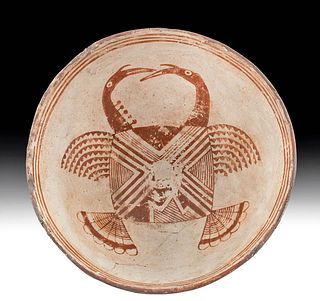 Rare Mimbres Pottery Bowl w/ Avian Design