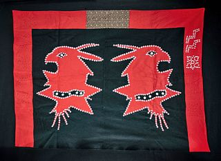 1940s Northwest Coast Haida Button Blanket / Crest Robe
