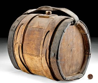 19th C. American Wood and Iron Keg