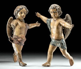 Two 18th C. Spanish Colonial Polychrome Wood Cherubs