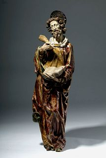 18th C. Spanish Colonial Wood Santo - An Evangelist
