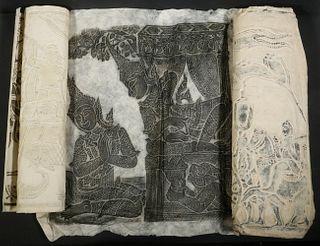 (3) THAI RUBBINGS/INK STAMPINGS ON HANDMADE PAPER, UNFRAMED