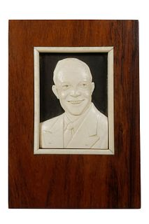 1950S CHINESE CARVED PORTRAIT OF US PRESIDENT EISENHOWER