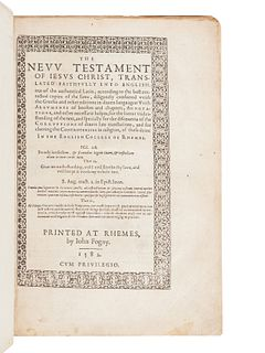 [BIBLE, in English]. The New Testament of Jesus Christ, translated faithfully into English. Translated from Latin into English by Gregory Martin, unde