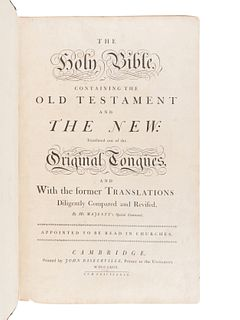 "[BIBLE, in English]. The Holy Bible, containing the Old Testament and the New""¦ Cambridge: John Baskerville, 1763."
