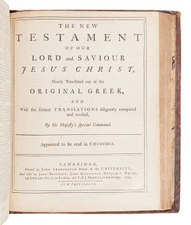 [BIBLE, in English]. The Holy Bible, containing the Old and New Testaments. Cambridge: John Archdeacon, 1769.