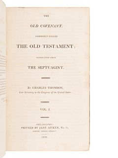 [BIBLE, in English]. The Holy Bible, containing the Old and New Covenant, commonly called the Old and New Testament: Translated from the Greek [by Cha