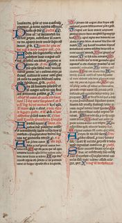 [MANUSCRIPT LEAF -- MISSAL]. One leaf on vellum, in Latin. England?, ca 1375.