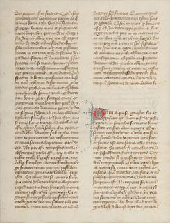 [MANUSCRIPT LEAF -- BIBLE]. One leaf on vellum, in Latin. France, ca 14th century.